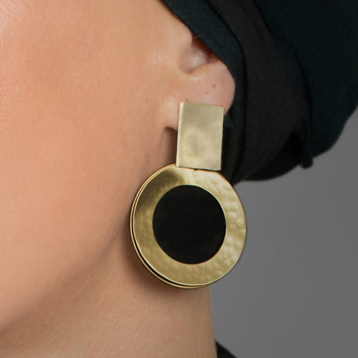Black-and-Touquise-Ohrringe-gold-schwarz