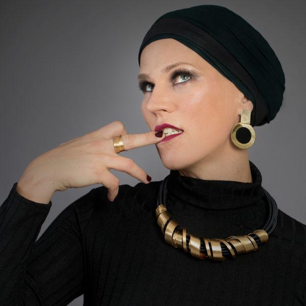 Glamouröse Statementkette Ohrringe ring gold schwarz