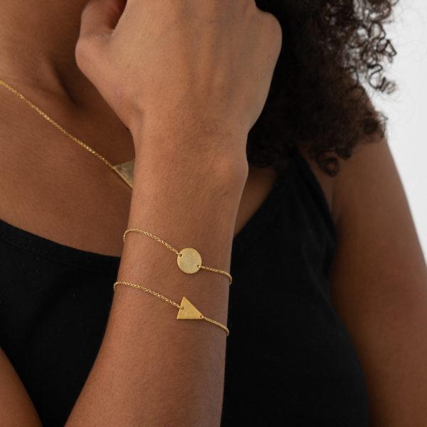 Bracelet rund gold dreieck armband