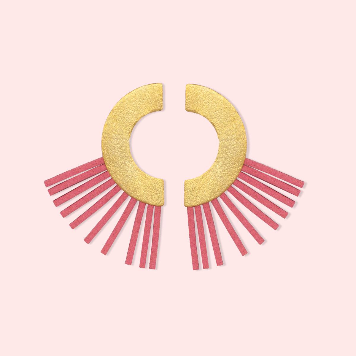 Carrie Ohrringe gold rosa leder