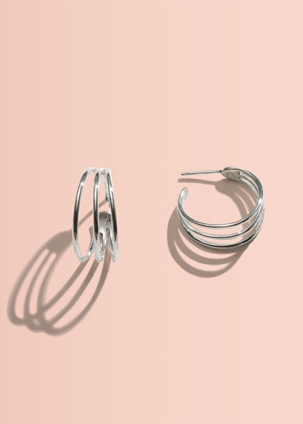 Despina-Creolen-drei-ringe-silber-glaenzend
