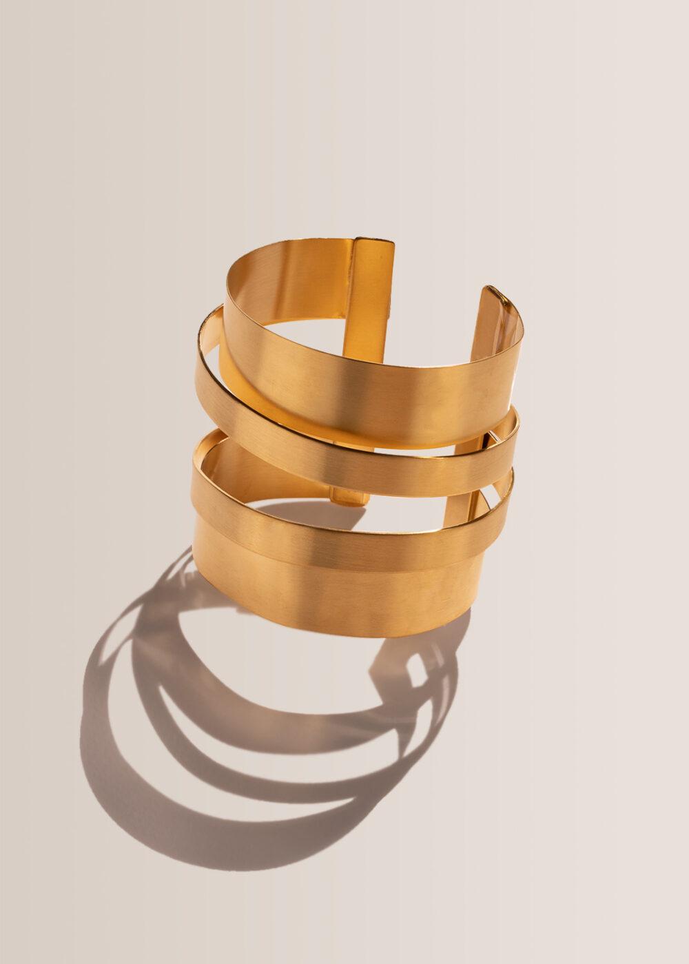 Armreif-Statement-Kreise-gold-matt-olympia