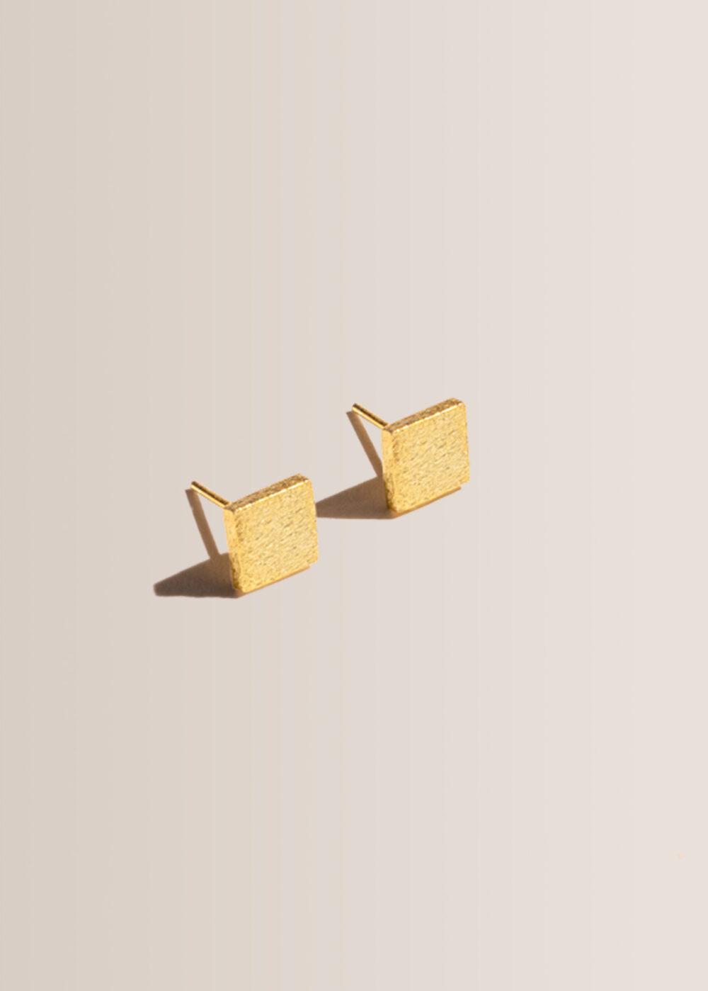 Quadrat-Ohrringe-Stecker-gold