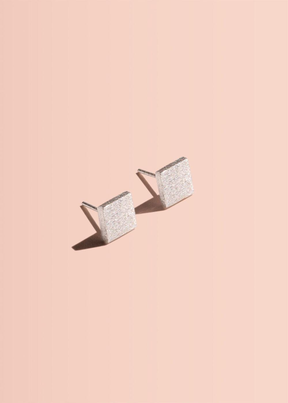 Quadrat-Ohrringe-Stecker-silber